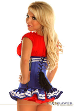 Royal Blue Pin-Up Underbust Sailor Corset Costume - Females Fashion