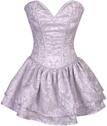 Plus Size  White Glitter Embroidered Net Overlay Steel Boned Corset Dress - Fashion