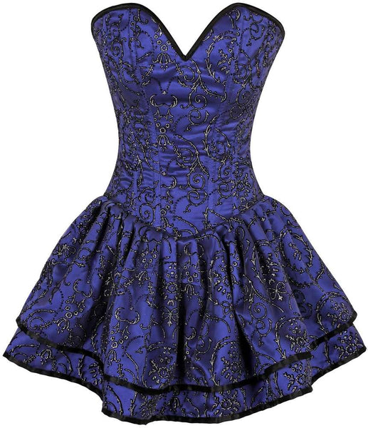 Plus Size  Royal Blue Glitter Embroidered Net Overlay Steel Boned Corset Dress - Fashion