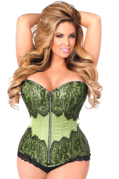 Plus Size  Mint Green Brocade Steel Boned Corset W/Black Eyelash Lace - Fashion