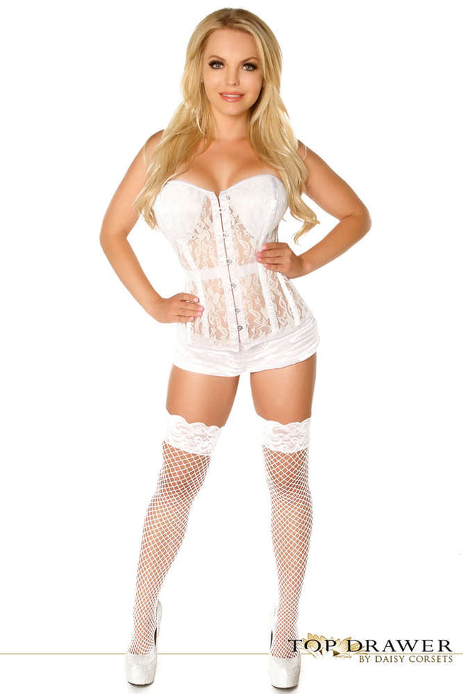 Ivory Lace Molded Cup Corset - Females Fashion