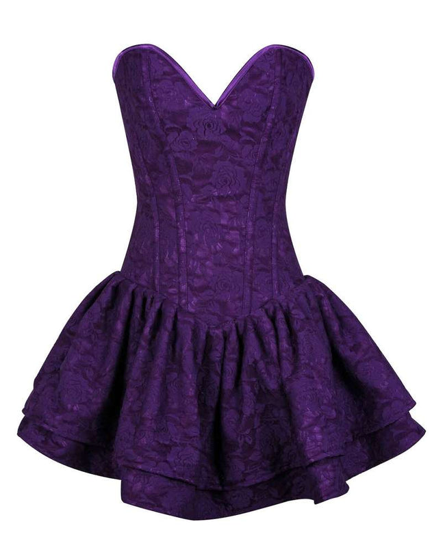 Dark Purple Lace Steel Boned Ruffle Corset Dress - Fashion