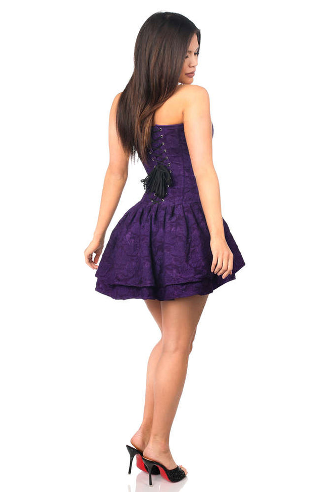 Dark Purple Lace Steel Boned Ruffle Corset Dress - Females Fashion