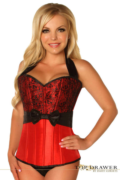 Red Lace & Bow Halter Steel Boned Corset - Fashion