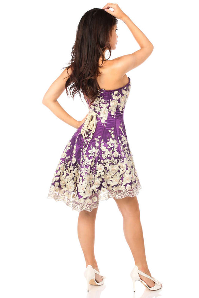 Elegant Plum Floral Embroidered Steel Boned Corset Dress - Females Fashion