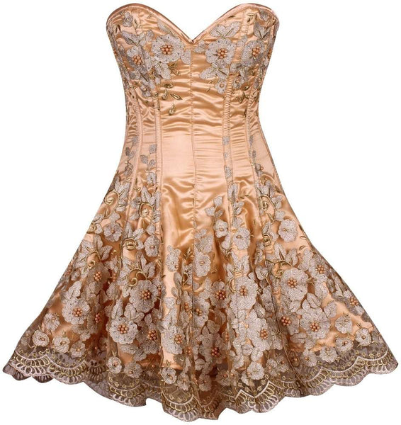 Plus Size  Elegant Gold Floral Embroidered Steel Boned Corset Dress - Fashion