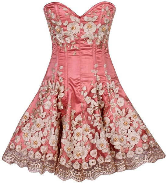 Plus Size  Elegant Coral Floral Embroidered Steel Boned Corset Dress - Fashion