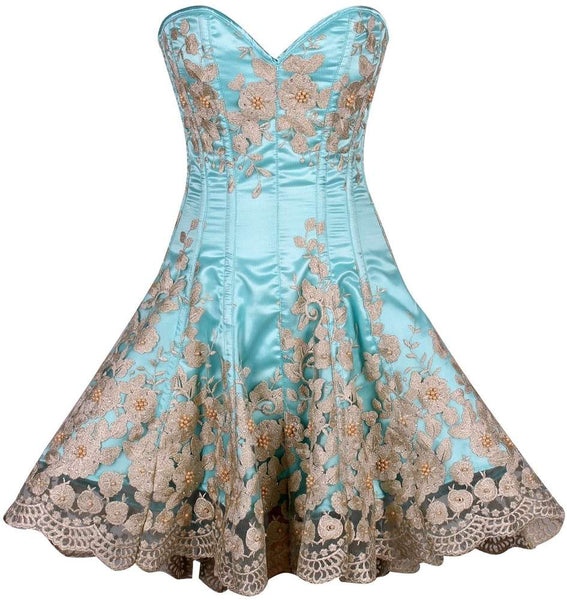 Plus Size  Elegant Aqua Floral Embroidered Steel Boned Corset Dress - Fashion