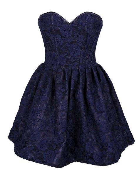Steel Boned Navy Blue Lace Empire Waist Corset Dress - Fashion
