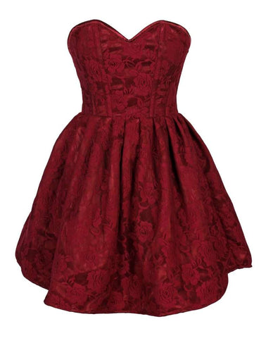 Plus Size  Steel Boned Wine Lace Empire Waist Corset Dress - Fashion