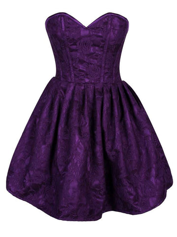 Plus Size  Steel Boned Plum Lace Empire Waist Corset Dress - Fashion