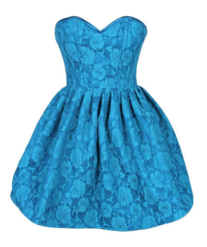 Plus Size  Steel Boned Teal Lace Empire Waist Corset Dress - Fashion