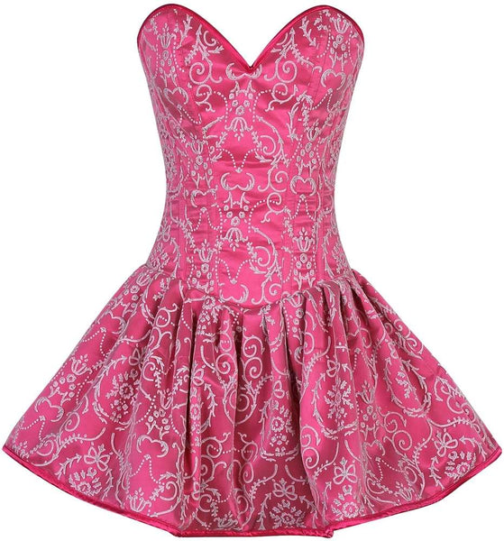 Plus Size  Regal Pink Glitter Embroidered Net Overlay Steel Boned Corset Dress - Fashion