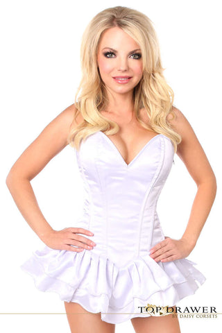 Plus Size  White Satin Steel Boned Corset Dress - Fashion