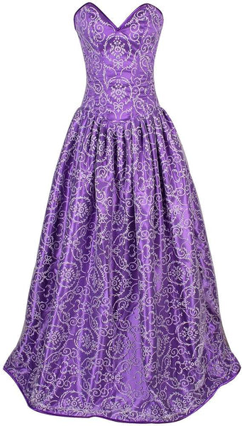 Plus Size  Regal Purple Embroidered Net Steel Boned Long Corset Dress - Fashion