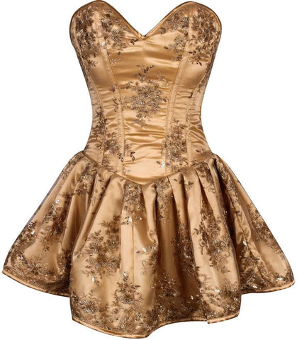 Plus Size Steel Boned Elegant Gold Embroidered Net Steel Boned Short Corset Dress - Fashion