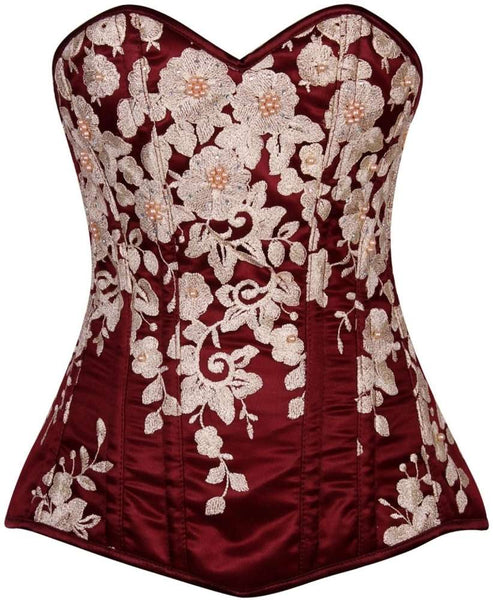 Plus Size  Elegant Wine Floral Embroidered Steel Boned Corset - Fashion