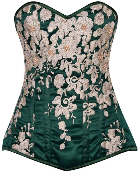 Plus Size  Elegant Dark Green Floral Embroidered Steel Boned Corset - Fashion
