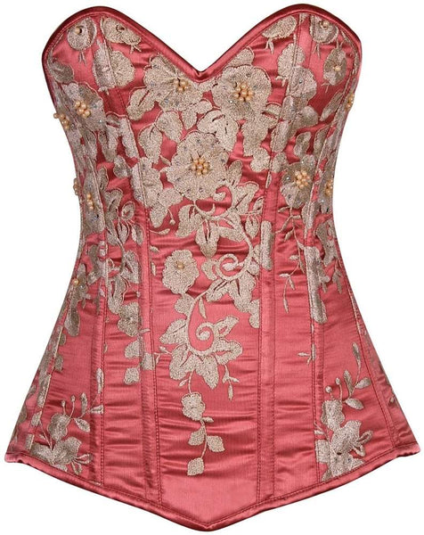 Plus Size  Elegant Coral Floral Embroidered Steel Boned Corset - Fashion