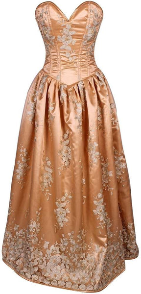 Elegant Gold Floral Embroidered Steel Boned Long Corset Dress - Fashion