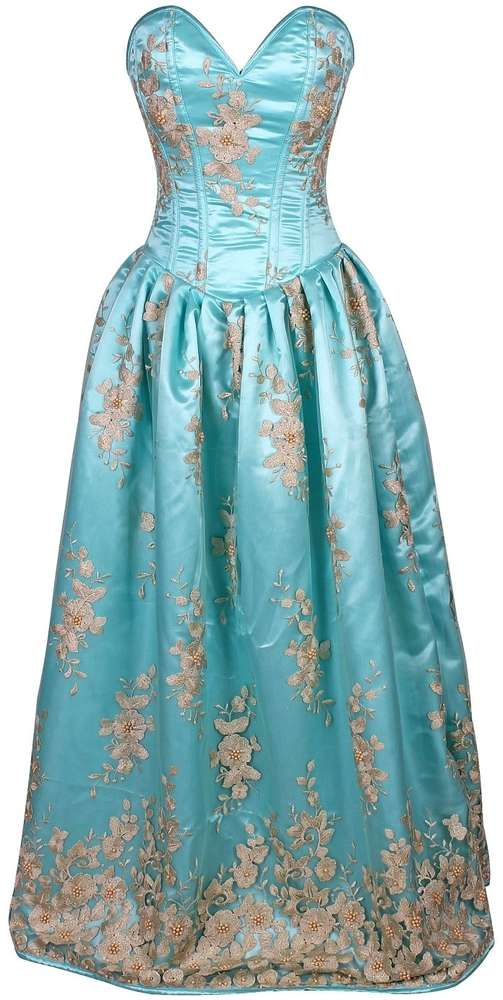 Elegant Aqua Floral Embroidered Steel Boned Long Corset Dress - Fashion