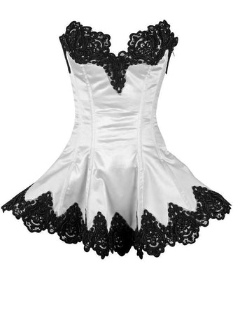 Plus Size  White Steel Boned Beaded & Lace Corset Dress - Fashion