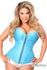 Plus Size  Blue Brocade Steel Boned Corset - Fashion
