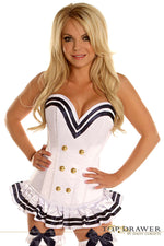 White Navy Officer Overbust Steel Boned Corset - Fashion