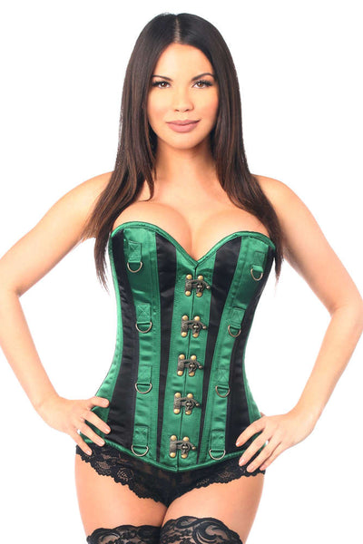 Plus Size  Green/Black Steel Boned Corset W/Clasps & D-Rings - Fashion