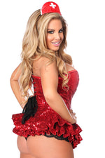 Plus Size  Premium Sequin Nurse Corset Dress Costume - Females Fashion