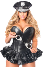 Premium Faux Leather Cop Corset Dress Costume - Fashion