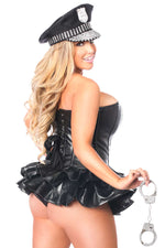 Premium Faux Leather Cop Corset Dress Costume - Females Fashion