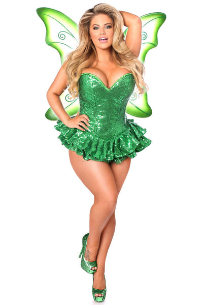 Plus Size  Premium Sequin Green Fairy Corset Dress Costume - Fashion
