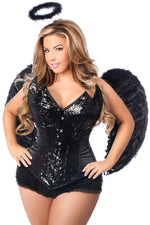 4 PC Sequin Black Angel Corset Costume - Fashion