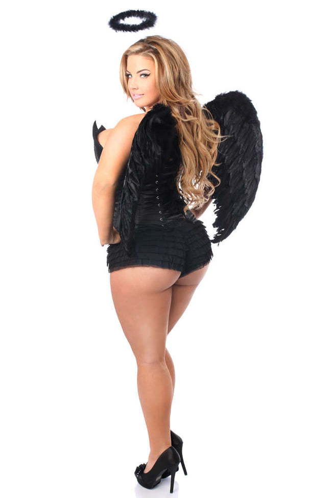 4 PC Sequin Black Angel Corset Costume - Females Fashion