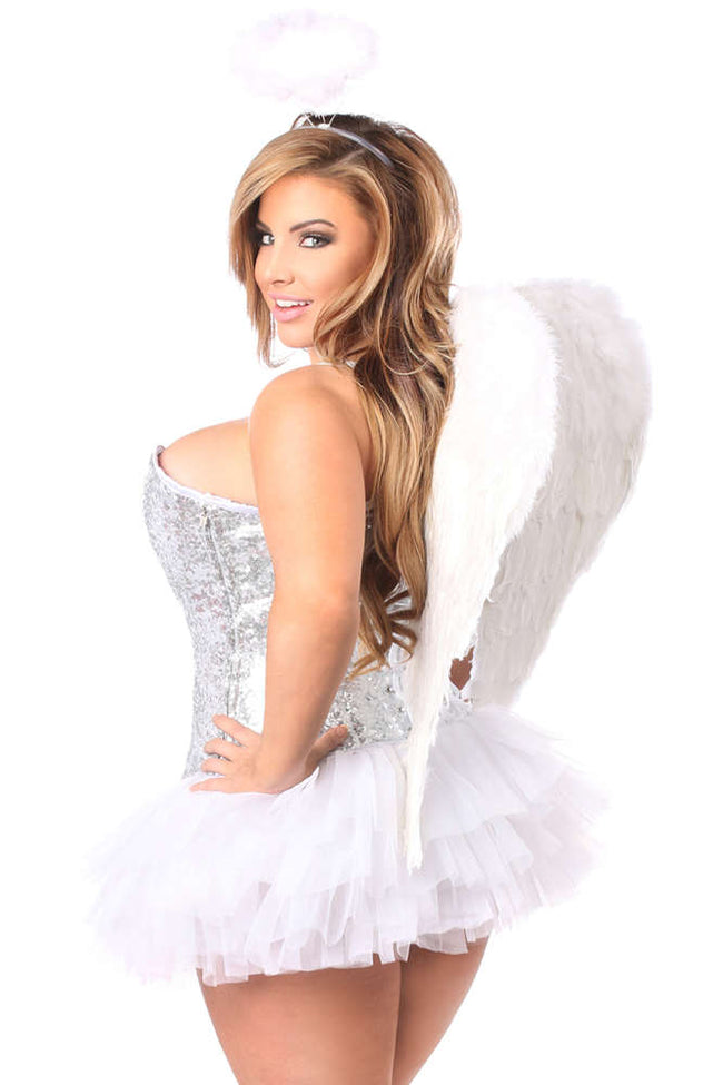 Plus Size  4 PC Silver Sequin Angel Corset Costume - Females Fashion