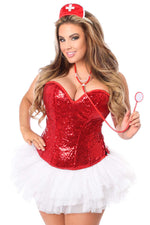 Plus Size  4 PC Sequin Nurse Corset Costume - Fashion