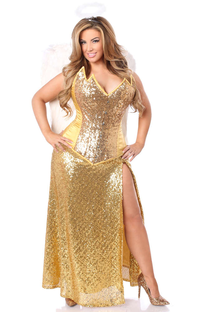 4 PC Gold Sequin Angel Costume - Fashion