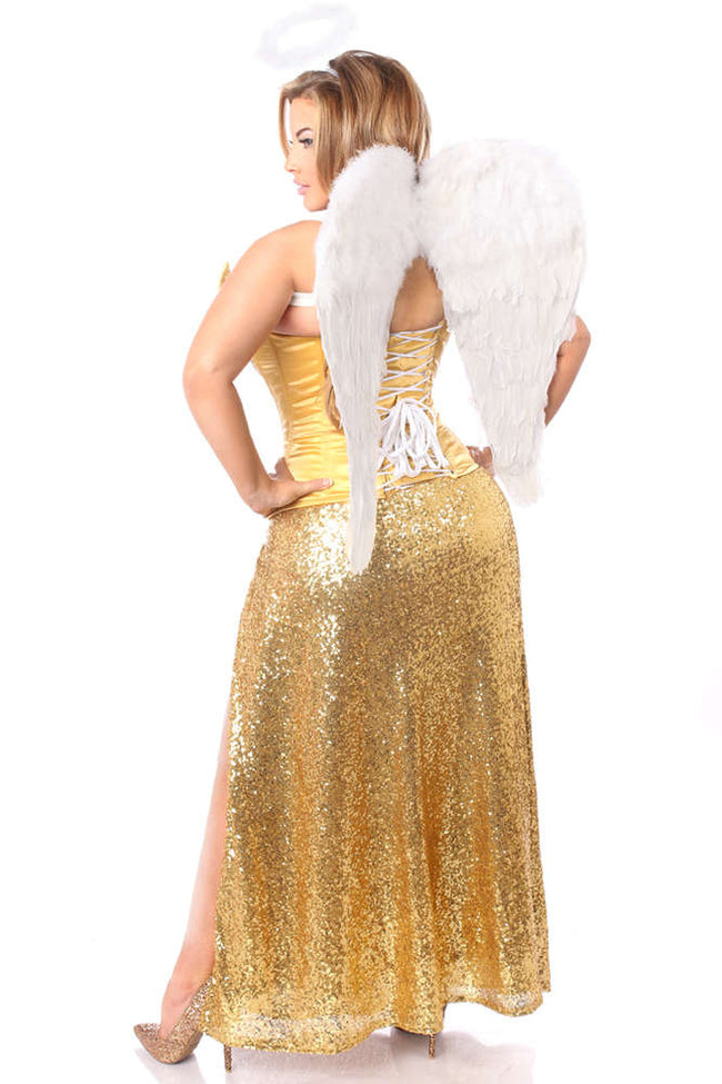 4 PC Gold Sequin Angel Costume - Females Fashion
