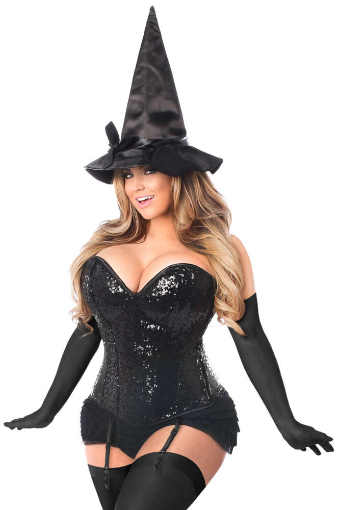 Plus Size 4 PC Sequin Witch Corset Costume - Fashion