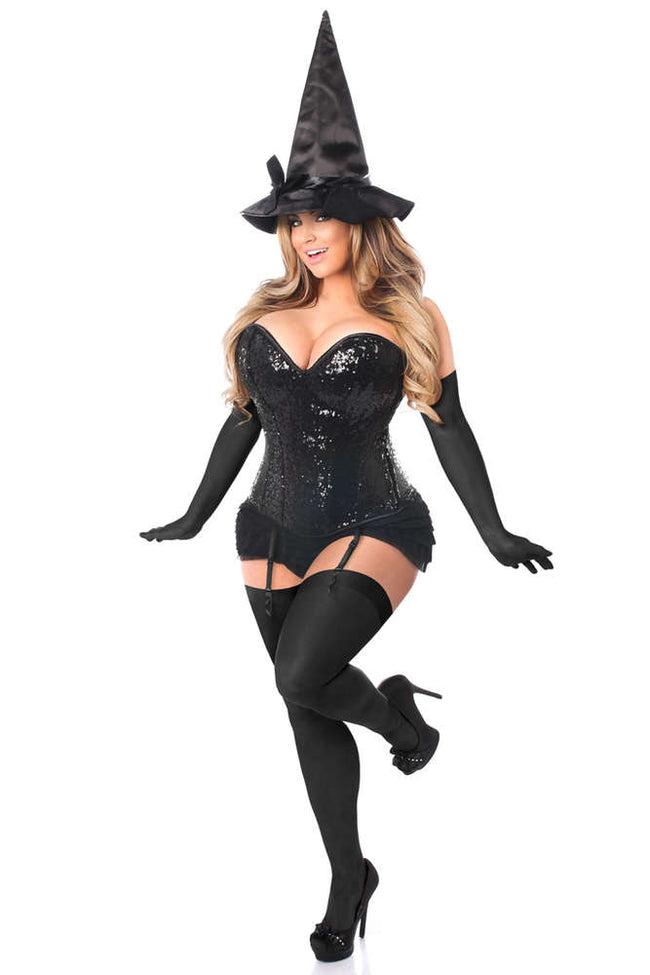 Plus Size 4 PC Sequin Witch Corset Costume - Females Fashion