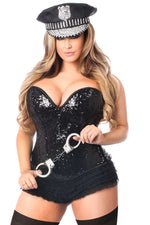 4 PC Sequin Cop Corset Costume - Fashion