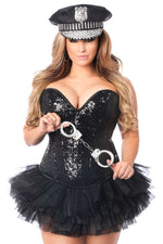 4 PC Sexy Cop Corset Costume - Fashion