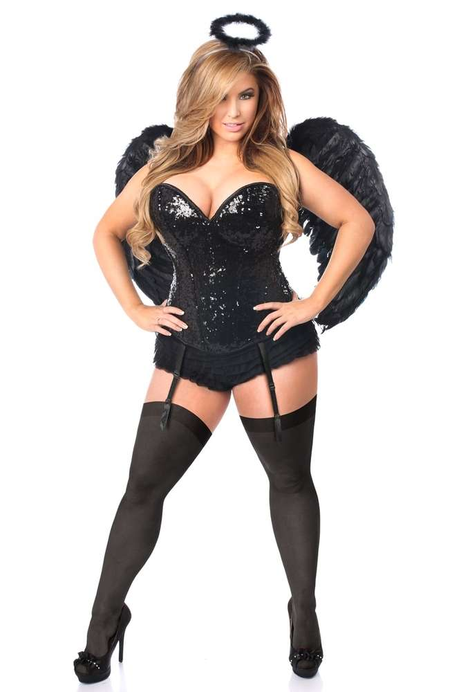 e4a2ecf899c Daisy Corsets Female Plus Size 4 PC Sequin Dark Angel Corset Costume ...