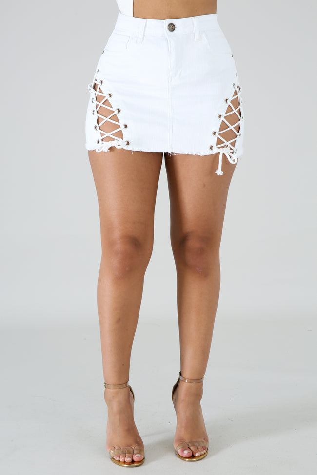 Denim Strap Skirt WHITE