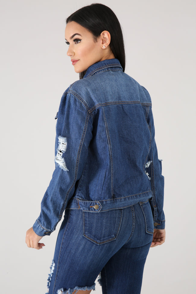 Distressed Classic Denim Jacket DENIM