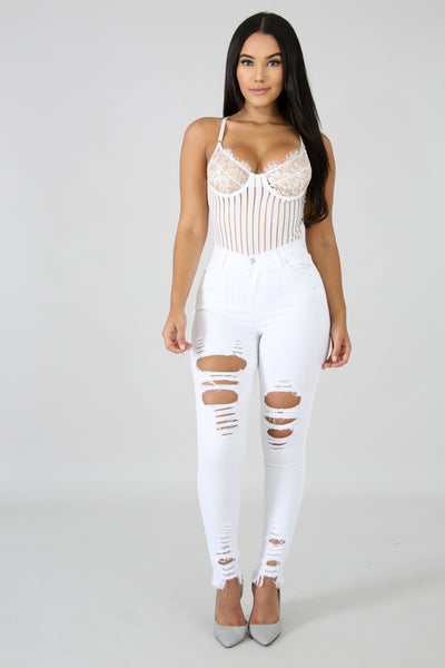Distressed Denim Fringe Jeans WHITE