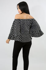 Dots Layered Ruffle Sleeve Off-The-Shoulder Top BLACK