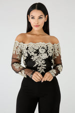 Embroidered Princess Top BLACK