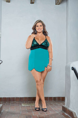 Plus Size  Lace Overlay  Baby Doll - Fashion